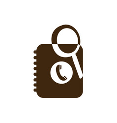 silhouette magnifying glass with phone book icon vector image