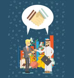 arabian and european businessman meeting vector image vector image