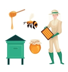 Beekeeper in protective suit bee honey jar and vector image vector image