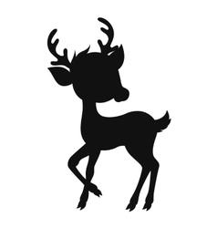 Cartoon reindeer silhouette vector image vector image