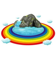 Cave and rainbow vector image vector image