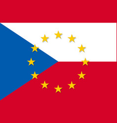 czech republic national flag with a circle of eu vector image vector image
