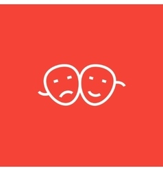 Two theatrical masks line icon vector image vector image