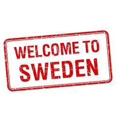 welcome to Sweden red grunge square stamp vector image vector image
