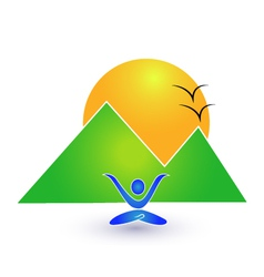 Yoga and nature logo vector image vector image