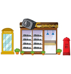 A camera store mailbox and telephone vector image