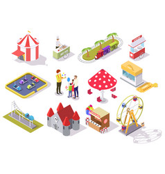 amusement park flat isometric icon set vector image