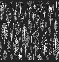 Black boho feather seamless pattern vector