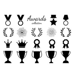 black white goblet and medal flat style vector image