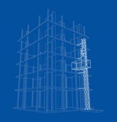 Building under construction with mast lifts vector
