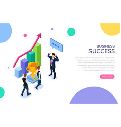 business success or teamwork concept with vector image