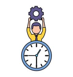 businessman holding gear clock vector image