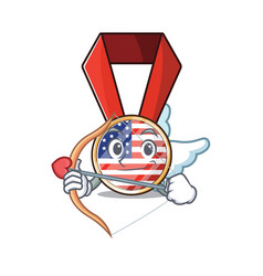 Cartoon usa medal with in cupid character vector