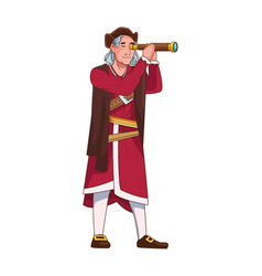 Christopher columbus with telescope character vector