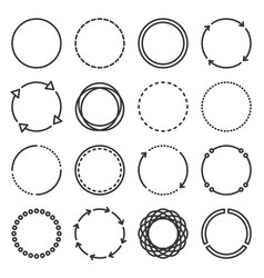 circle icons set on white background line style vector image