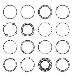 circle icons set on white background line style vector image