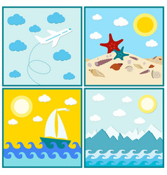 Collection 4 images summer mountain sun water vector