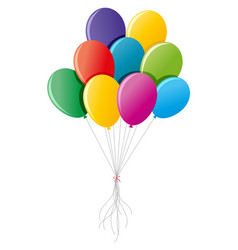 Colorful balloons tied up together vector