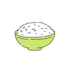 Cooked white rice in green bowl vector