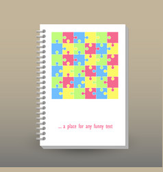 cover of diary pastel colored cute puzzle pattern vector image