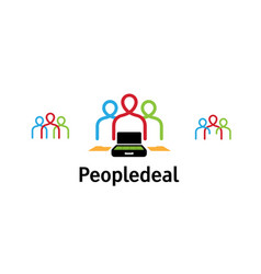 creative three colorful people deal logo vector image