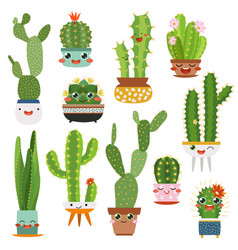 cute cactus pots happy face cartoon succulent vector image