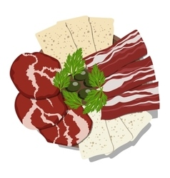 Dish with sliced ham cheese bacon and olives vector