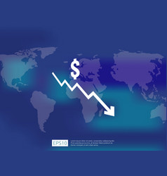 Dollar money fall down symbol with world map and vector