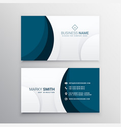 elegant minimal blue wave business card vector image