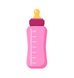 feeding baby bottle icon flat of vector image