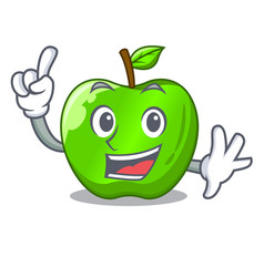 Finger green smith apple isolated on cartoon vector
