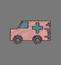 Flat shading style icon ambulance with a cross vector