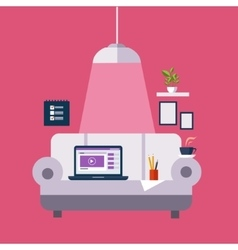 Freelance office on the sofa vector