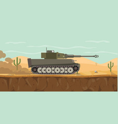 German tiger main battle tank on the desert with vector