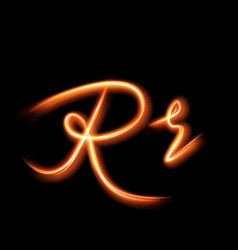 Glowing light letter r hand lighting painting vector