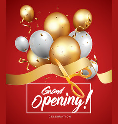 grand opening ceremony with red balloon gold and vector image