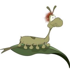 Green worm on a leaf Cartoon vector image