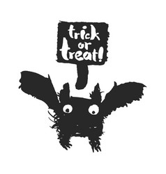 halloween bat with trick or treat speechbubble vector image