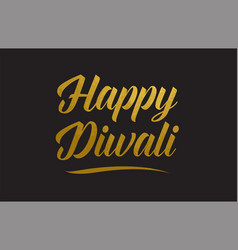 happy diwali gold word text typography vector image