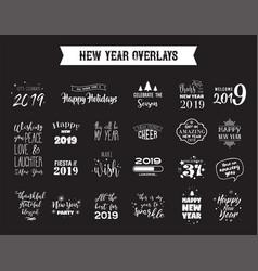 happy new year 2019 typographic emblems set vector image
