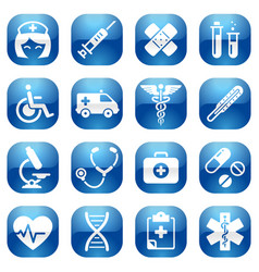 Healthcare blue icon set vector