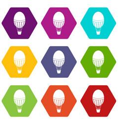 hot air balloon icon set color hexahedron vector image