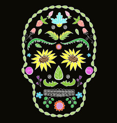 Human skull with flower elements for religion vector