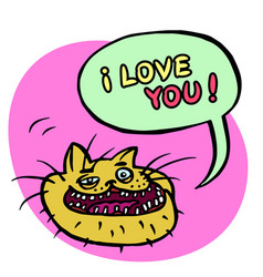 i love you cartoon cat head vector image