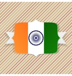 India Flag on Emblem with Ribbon vector image