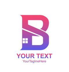 Initial letter b logo template colorful home icon vector