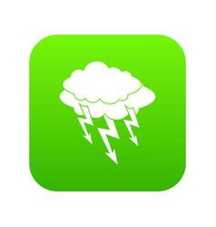 lightning bolt icon digital green vector image