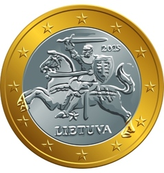 lithuanian euro gold money coin vector image