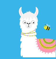 Llama alpaca and bee childish baby collection vector