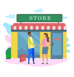 Man woman shake hand outside store building window vector